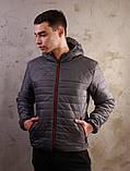 Мужская серая куртка Хот с капюшоном, фото 3