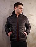 Чоловіча чорна куртка Хот з капюшоном, фото 5