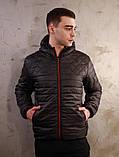 Чоловіча чорна куртка Хот з капюшоном, фото 7