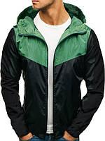 Мужская зелёно-чёрная ветровка Косая