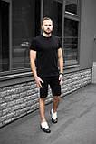 Чоловічий річний комплект чорна футболка спів і чорні шорти лампас, фото 4