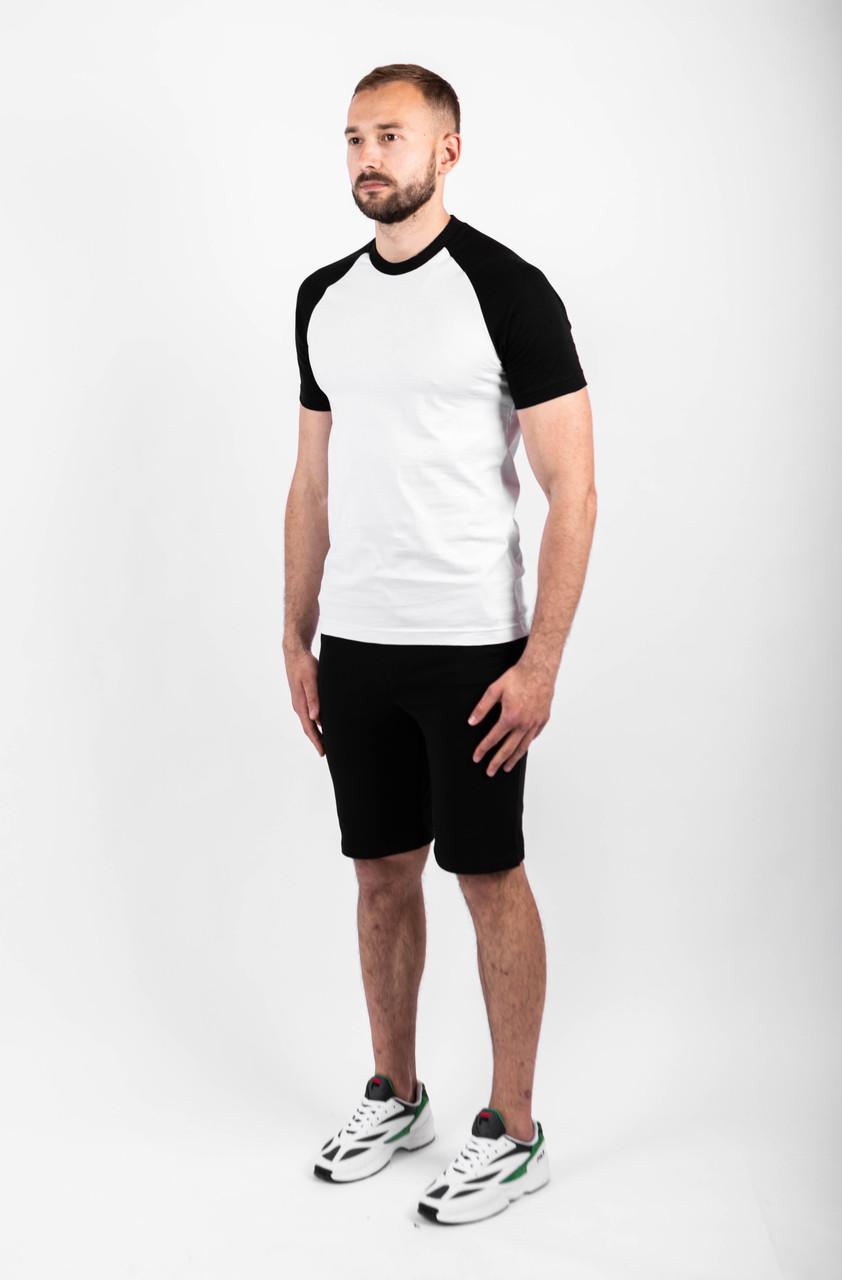 Мужской летний комплект двухцветная футболка и чёрные шорты