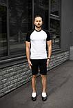Мужской летний комплект двухцветная футболка и чёрные шорты, фото 4