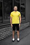 Мужской летний комплект жёлтая футболка и чёрные шорты, фото 4