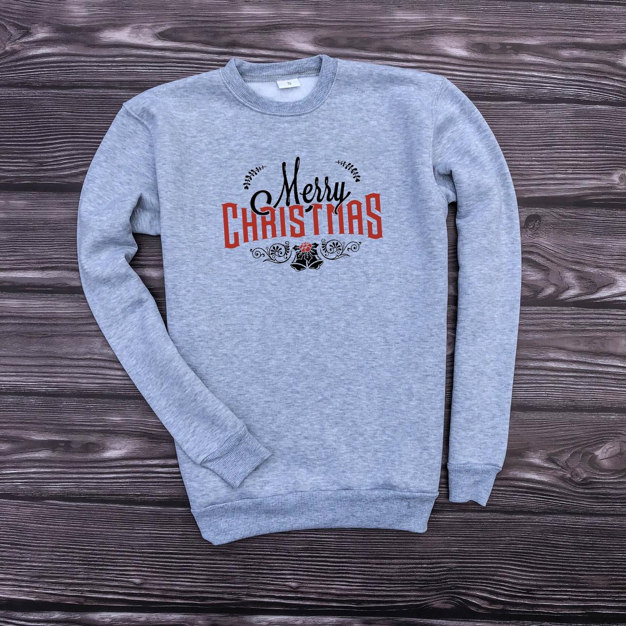 """Чоловічий сірий утеплений новорічний світшот """"Merry Christmas"""""""