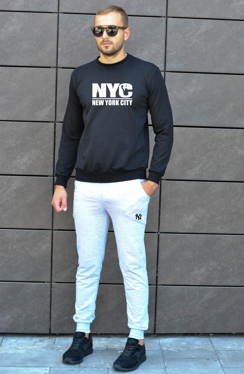 """Чоловічий утеплений спортивний костюм чорний світшот з принтом """"New York City"""" і меланжеві штани з принтом"""