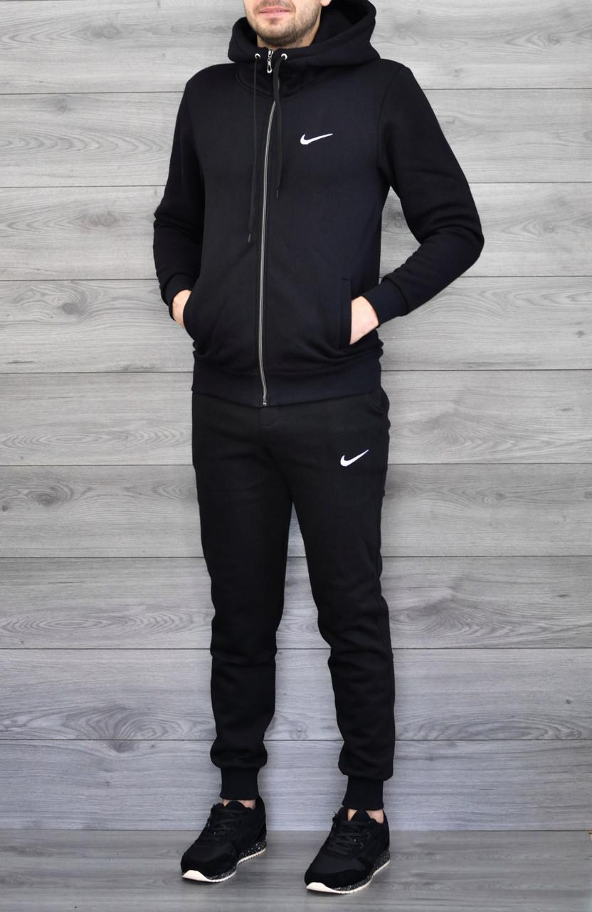"""Чоловічий утеплений спортивний костюм чорна кофта з принтом """"Nikе"""" і чорні штани з принтом """"Nikе"""""""