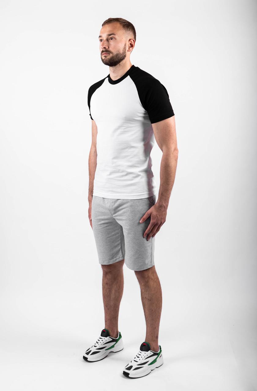 Чоловічий річний комплект двоколірна футболка і шорти меланжеві