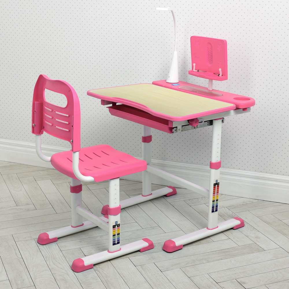 Детская регулируемая парта со стульчиком M 4428(W)-8 подставка для книги / лампа USB / цвет розовый **