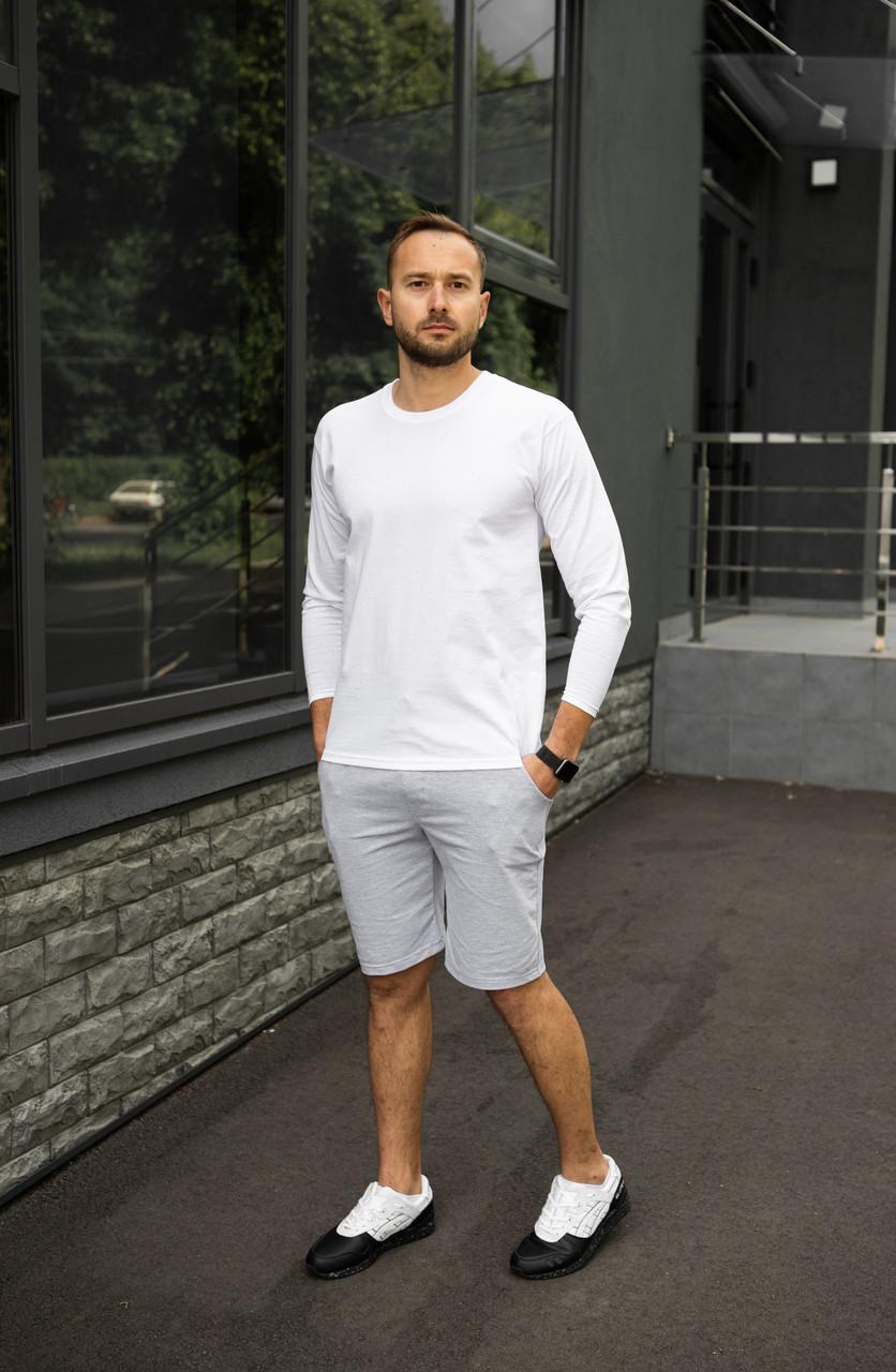 Мужской летний комплект белое джерси и меланжевые шорты