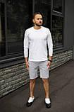 Мужской летний комплект белое джерси и меланжевые шорты, фото 2