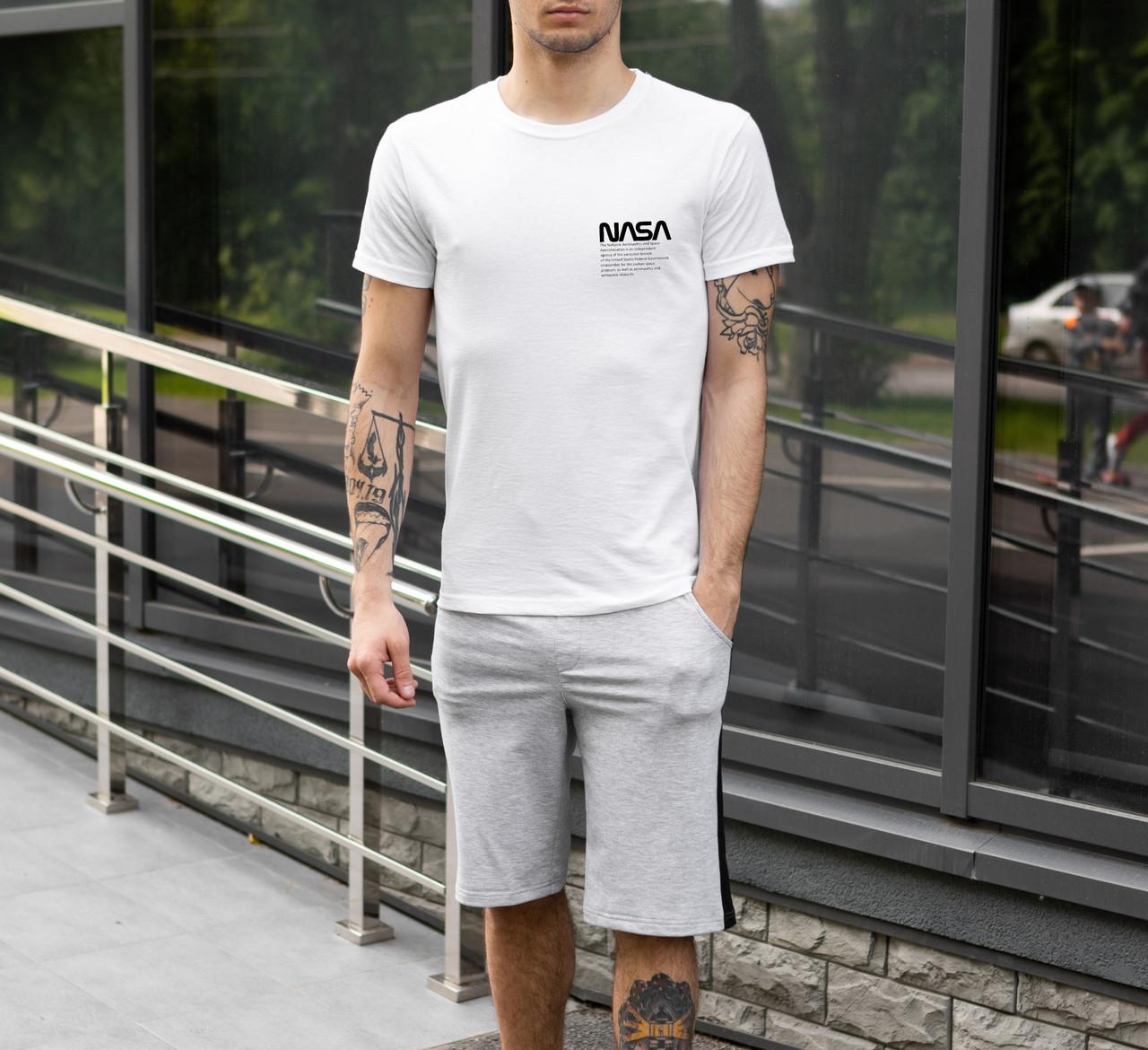 """Чоловічий річний комплект біла футболка з принтом """"NASA"""" і меланжеві шорти"""