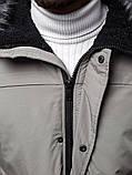 Зимова сіра чоловіча парку з поясом, фото 6