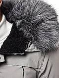 Зимова сіра чоловіча парку з поясом, фото 7