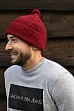 Бордова шапка з помпоном, фото 2