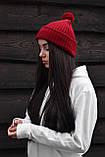 Бордова шапка з помпоном, фото 3