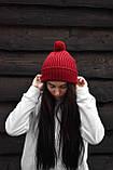 Бордова шапка з помпоном, фото 4