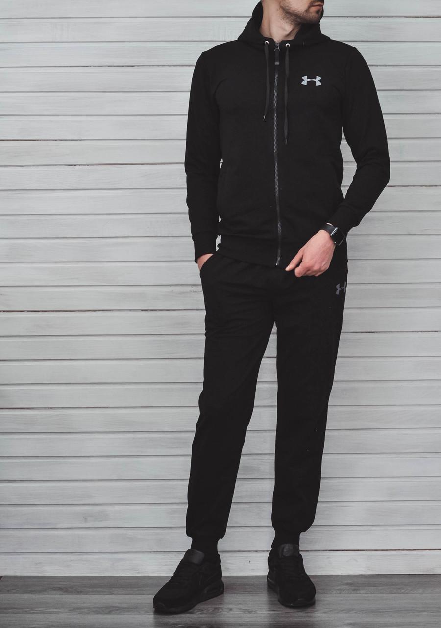 """Мужской спортивный костюм чёрная кофта с принтом  """"Under Armour"""" и чёрные штаны с принтом """"Under Armour"""""""