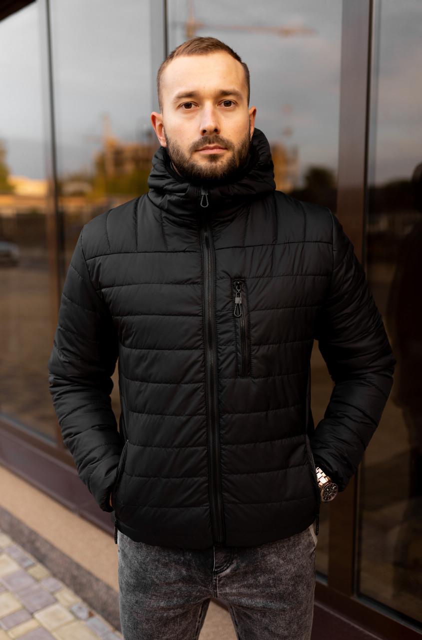 Мужская черная стеганая куртка, еврозима