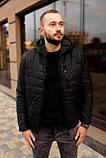 Мужская черная стеганая куртка, еврозима, фото 3