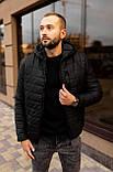 Мужская черная стеганая куртка, еврозима, фото 4