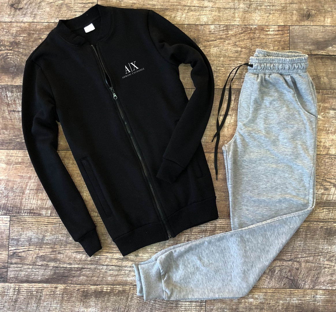 """Чоловічий спортивний костюм чорний бомбер з принтом """"Armani Exchange"""" і меланжеві штани"""