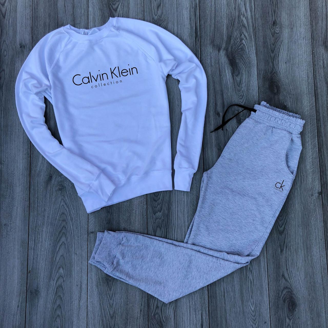 """Мужской спортивный костюм белый реглан с принтом """"Calvin Klein"""" и меланжевые штаны с принтом """"Calvin Klein"""""""