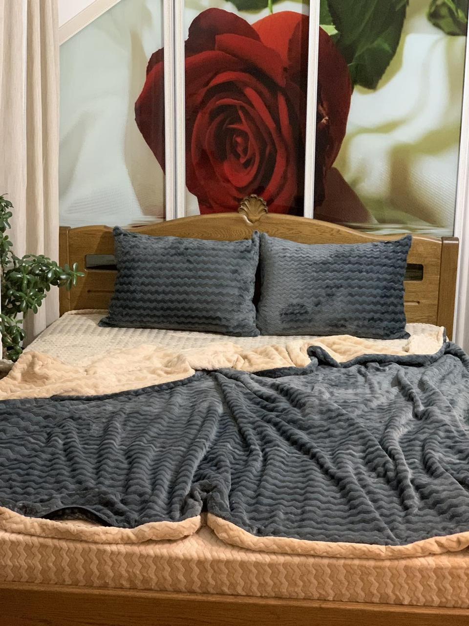 Велюровый Комплект постельного белья  Волна двухсторонний Серо - бежевый