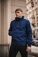 Куртка мужская синяя с капюшоном демисезонная, спортивная ветровка непромокаемая
