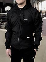 Мужская куртка не промокаемая ветровка с капюшоном Windbreaker демисезонная черная