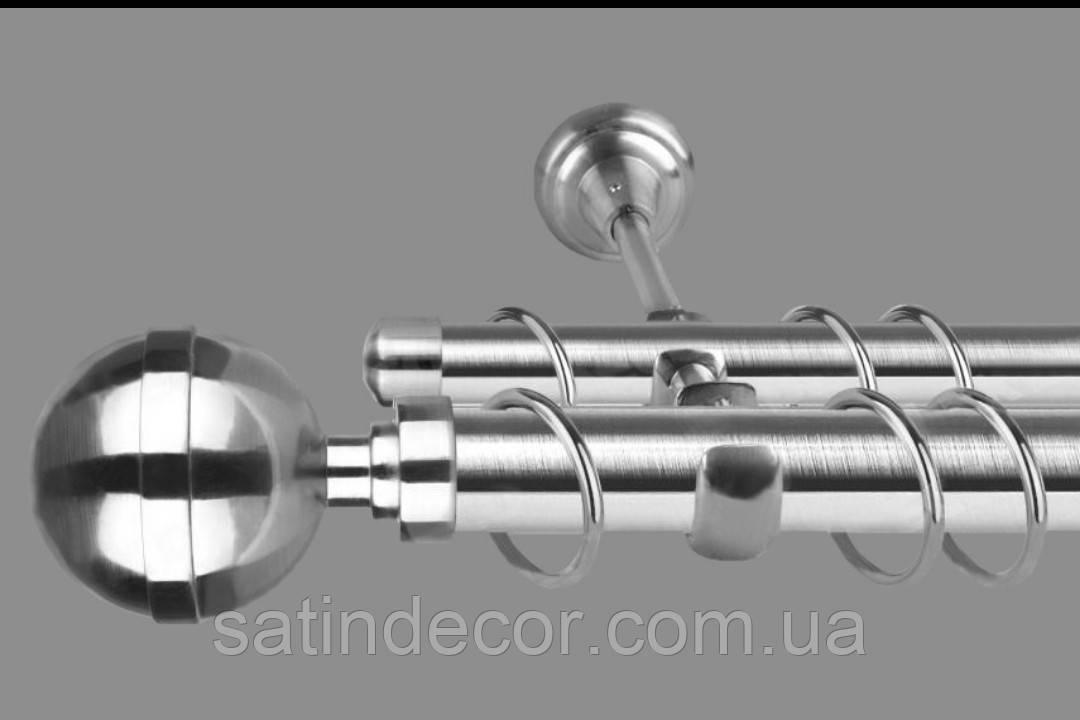 Карниз для штор металлический двойной 19+19мм КАЛИСТО Длина 1.6м Цвет Сталь нержавеющая