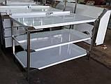 Стіл виробничий з 2 полицями і бортом 1500х600х850 мм із нержавіючої сталі, фото 2