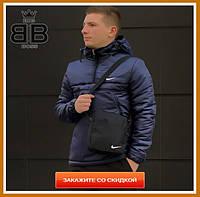 Куртка мужская с капюшоном утепленная, спортивный анорак демисезонный, Цвет синий