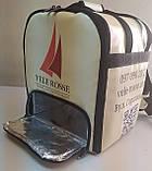 Термосумка для доставки їжі, суші. Рюкзак для піци, нижнє відділення 32*32. Каркасний. ПВХ, фото 2