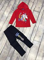 Костюмчики для дівчаток із єдинорогом у червоному кольорі на вік 3-4,4-5,5-6,7-8,9-10 років