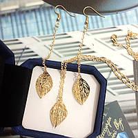 """Набор """"Фея"""" сережки и кулон золотистого цвета с листочками и камушком внутри."""