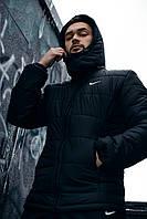 """Куртка мужская зимняя Найк Jacket Winter """"Euro"""" с капюшоном, теплый пуховик, цвет черный"""