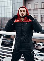 """Куртка мужская зимняя Найк Jacket Winter """"Euro"""" с капюшоном, теплый пуховик, цвет красный с черным"""