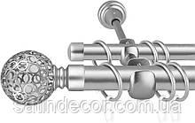 Карниз для штор металевий подвійний 25+19мм САВОНА Колір Сатин нікель Довжина 2.4 м