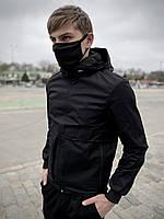 Мужская куртка ветровка Sprinter с капюшоном, молодежная демисезонная куртка, цвет черный