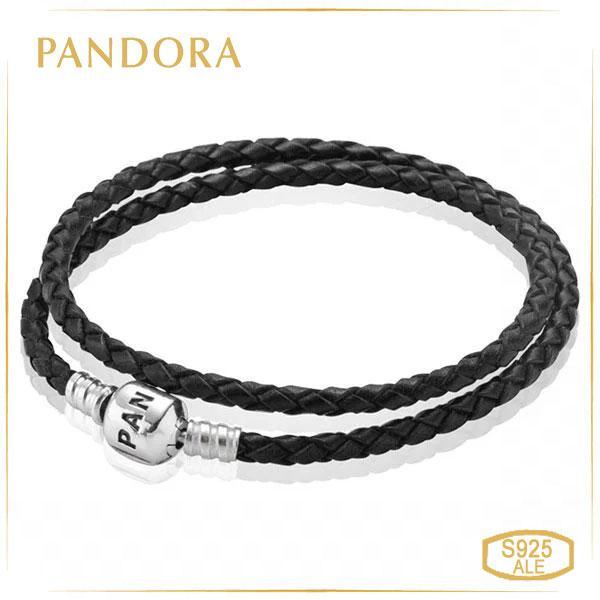 Пандора Подвійний шкіряний браслет чорний (35 см) Pandora 590705CBK-D1