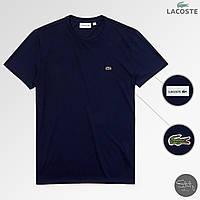 Мужская футболка стильная Lacoste (реплика) лето. Цвет: темно-синий