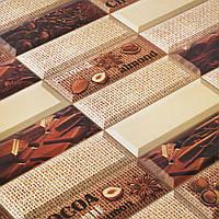 ПАНЕЛЬ ПВХ НА СТЕНУ ВОДОСТОЙКАЯ ПЛАСТИКОВАЯ ДЕКОРАТИВНАЯ ДЛЯ КУХНИ РЕГУЛ ПЛИТКА «Шоколад» 957*477 мм