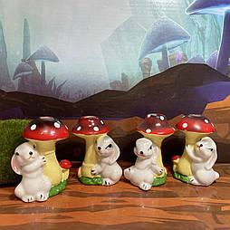 Пасхальные кролики под грибами 7.5 см керамика (8 шт в уп)
