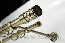 Карниз для штор металевий подвійний 19+19мм БАРАМЕЛЛА Довжина 2.4. Колір Античне золото