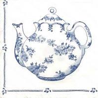 """Салфетки для декупажа """"Чай для двоих"""" бело-голубой 33*33 см №226"""