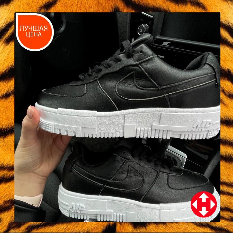🔥 Кроссовки женские Nike Air Force Pixel найк эир форс пиксель черные повседневные спортивные кожаные