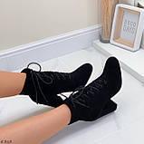 Только 38 р! Женские ботильоны- ботинки ДЕМИ на каблуке 9 см черные эко замш весна/ осень, фото 5