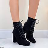 Только 38 р! Женские ботильоны- ботинки ДЕМИ на каблуке 9 см черные эко замш весна/ осень, фото 4
