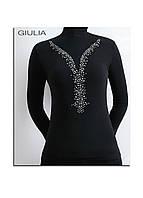 Женская водолазка с  длинным рукавом и украшена стразами ТМ GIULIA